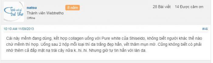 review một số đánh giá của các mẹ trên Webtretho về collagen shiseido