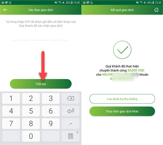 chuyển tiền qua điện thoại Vietcombank