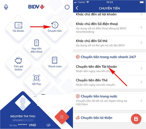 Cách chuyển tiền qua điện thoại BIDV